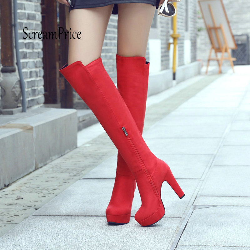 Top Faux Suede Knee High Boots Fashion Zipper Chunky High Heel Winter Warm Women Boots Red Black Wine Red plus size 43 fashion platform knee high boots chunky high heel side zipper winter women shoes brown gray wine red black