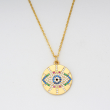 Long Chain Gold Turkish Eye Pendant Necklaces For Women Trendy Crystal Statement Jewelry Bijoux Gift Drop Shipping