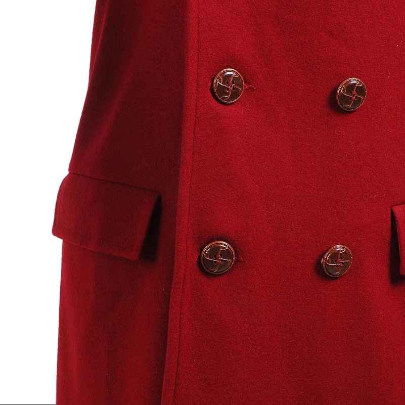 Doctor Who 4th Doctor Coat Cosplay Costume Long Red Wool Trench Fall Winter Outerwear Halloween Christmas Coat - 5