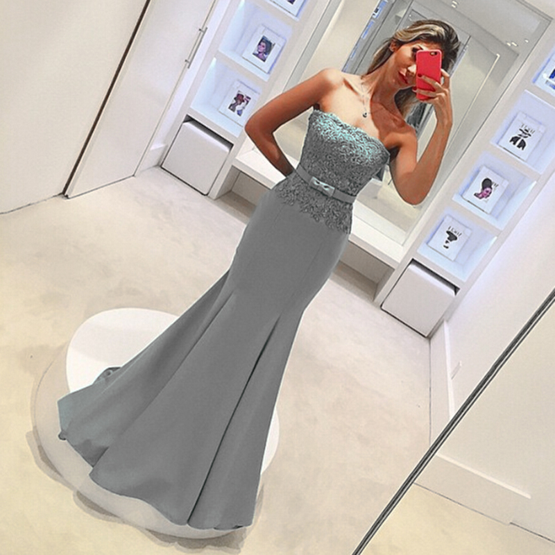 Gray Mermaid   Bridesmaid     dresses   Long Strapless Backless Elegant Cheap Lace Wedding party gowns Applique Maid of honor   dress   2019