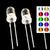 100pcs full color 3mm LED Diode 3V DIY Set Light Emitting Warm White Green Red Blue Yellow Orange Purple Pink Ultra Bright 20mA