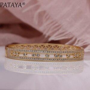 Image 4 - を PATAYA 新中空花びら女性腕輪 585 ローズゴールド婚約ファッションジュエリーラウンド精天然ジルコン高級対称バングル