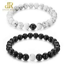 DR 2Pcs/Set Couples Bracelets for Lovers Black Matte & White Howlite 8mm Beads Bracelet Natural Stone Women Gifts Jewelry