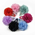 Free Shipping 24pcs/lot  5cm Snap Hair Clip Fabric Flower Baby Girl Hair Clips