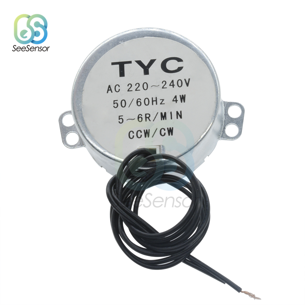 AC 220V 240V AC 12V 50/60Hz Synchronous Motor 5-6RPM Robust Torque 4W CCW/CW TYC-50