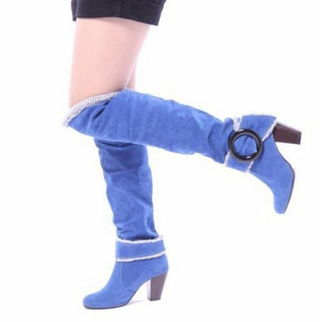 COVOYYAR 2019 Flock Knee High Boots Fashion Buckle Women Boots Thick High Heel Winter Shoes Woman Big Sizes 34~43 WBS105 2