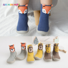 SLKMSWMDJ Spring Toddler Anti-slip Cotton With Rubber Soles Sock for Children Cartoon baby Walker Shoes Baby steps Floor socks slkmswmdj 1 pairs spring autumn cotton cartoon baby toddler socks unisex children s non slip floor socks xs s m for 0 30 months