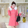 2016 новые поступления Зима пальто женщин Шерстяные верхняя одежда женский тонкий средней длины плюс размер двубортный меховой воротник шерстяной пальто
