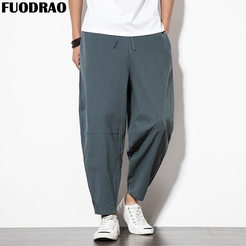 Hell Fuodrao Harajuku Casual Hosen Männer Baumwolle Breite Bein Hosen Solide Jogger Hosen Männer Streetwear Sommer Baggy Männer Hosen 5xl F014