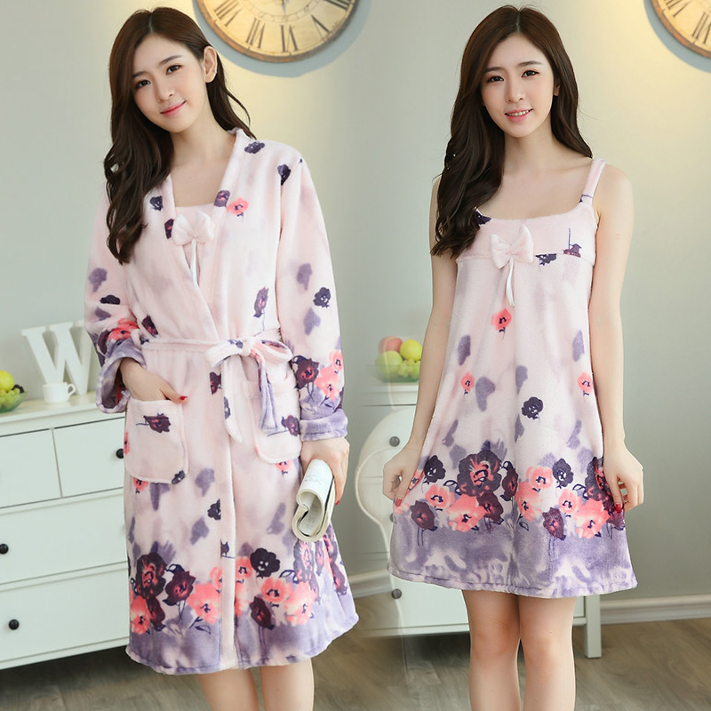 2 Pcs Dicke Warme Nachthemden Flanell Kimono Roben Set Für Frauen 2018 Winter Langarm Korallen Samt Bademantel Dessous Nacht Kleid
