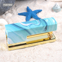 Never Light Blue Series Stapler Business Office Accessories Supplies Binding Stationery Gold Manual  Staplers Book Paper