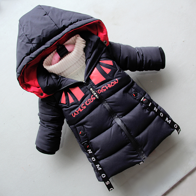 BibiCola boys winter warm long jackets kids fashion thick dowm parkas for boys children clothing boys winter caots hoodies 2018 winter fashion boys