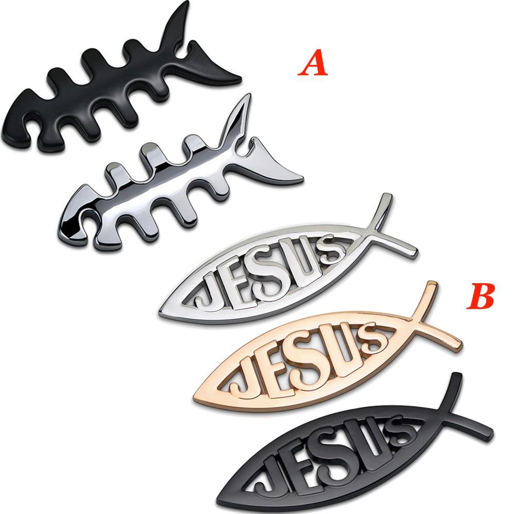 1 piece for Fish Jesus Emblem for Nissan Leaf <font><b>Peugeot</b></font> <font><b>208</b></font> Benz CLA Ford Edge Fiat Truck Car <font><b>Chrome</b></font> Sticker Exterior Modification image