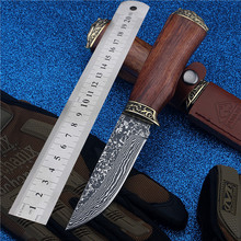 2016 Limited New Damascus Straight Knife Self-defense with The Outdoor Folding Knives High Hardness Saber Fruit for Sharp Wild