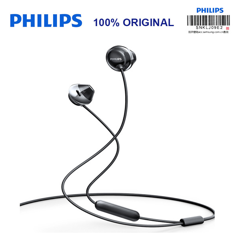 Philips SHE4205 Earphones Bass with Microphone  Wire Control In-Earphone Noise Cancelling Earphone for Galaxy 8 Official Testing philips shg7210 professional game headphones with microphone wire control headphone for xiaomi mp3 official verification