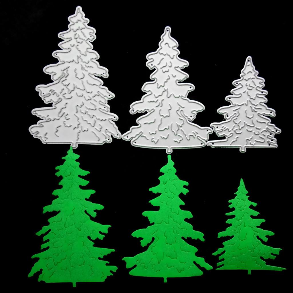 3pcs Pine Tree DIY Knife Molding Flower Knife Molds Carbon Steel Metal Cutting Dies Stencils