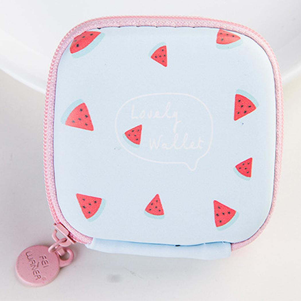 In-Ear Earphone Pouches Storage Cases Headphone Cloth Carry Fruit Bag Square As Picture