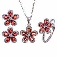 Flower Style Natural garnet jewelry set 925 sterling silver Set is 1pc ring,1pc pendant,1pair stud earrings gems