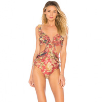 Custom European and American mesh lace sexy V deep thin broken flowers ears shoulder collar conjoined swimsuit