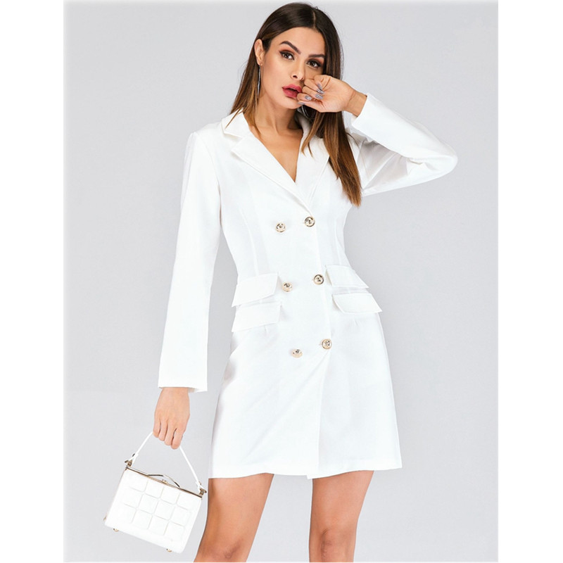 Women spring Sexy Elegant Lapel Double-breasted Casual vestidos Ladies Work Office Business Party Bodycon vintage White Dress