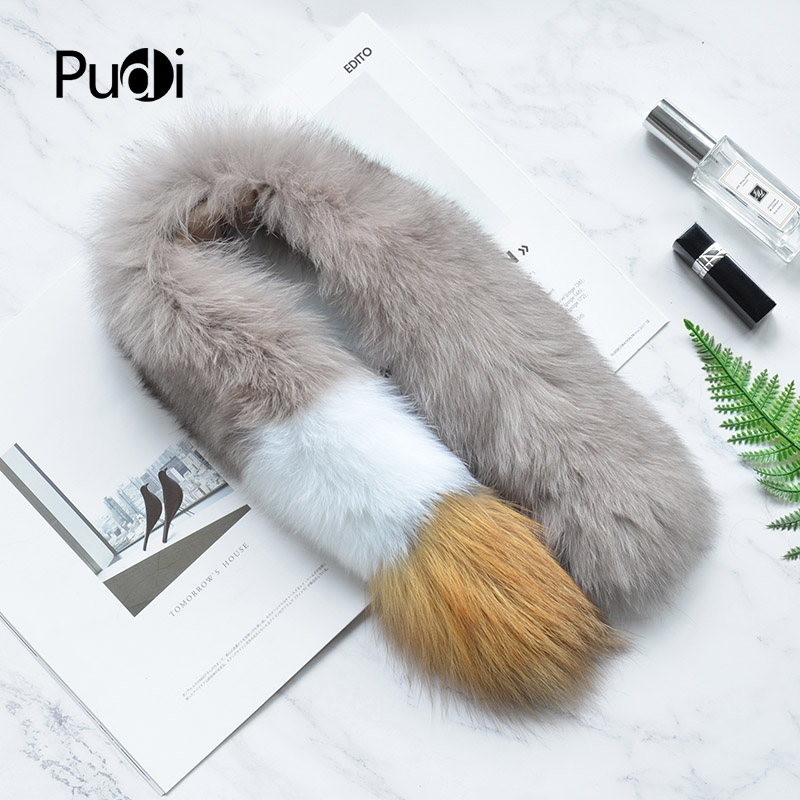 Pudi SF802 woman real fox fur   scarf   2018 new brand girl genuine fox fur   scarves     wrap   shawl