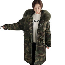 2016 New Fashion Womens Camouflage Female Warm Large Fur Collar Hooded Cotton Down Jacket Long Coat Parkas Winter Jacket A2127
