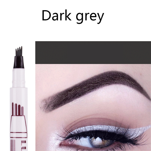 Hot Selling 3 Colors Liquid Tattoo Eyebrow Pencil with Four Tips Long-Lasting Waterproof Microblading Tattoo Eyes Pen Makeup 4