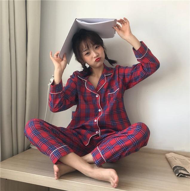 2019 Korean Women Pajamas Sets with Pants Cotton Pijama Plaid Spring Summer Sleepwear Pyjama Cute Night Wear Nightsuits