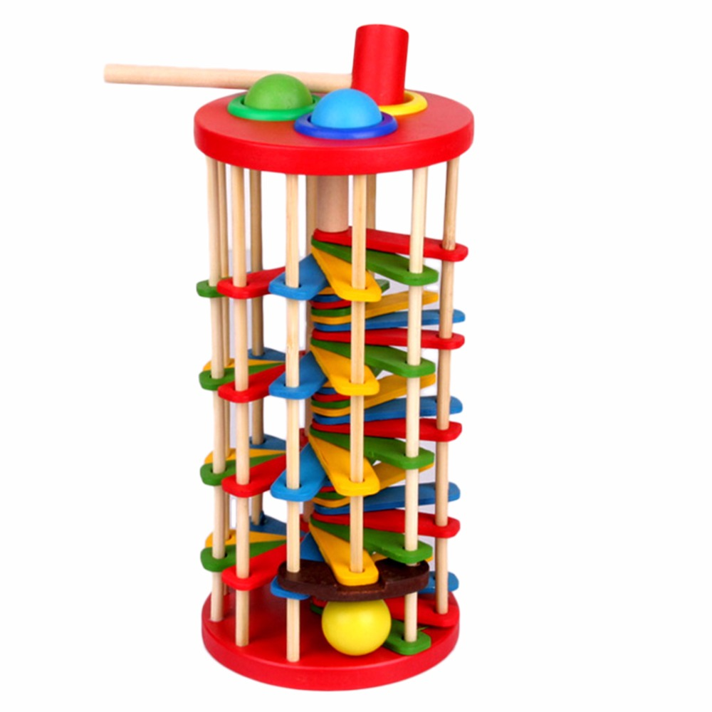 Wooden Building Blocks Toys Baby Rolling Ball Ladder Run Track Game Educational Toys For Children Wood Toy Gift Brinquedos