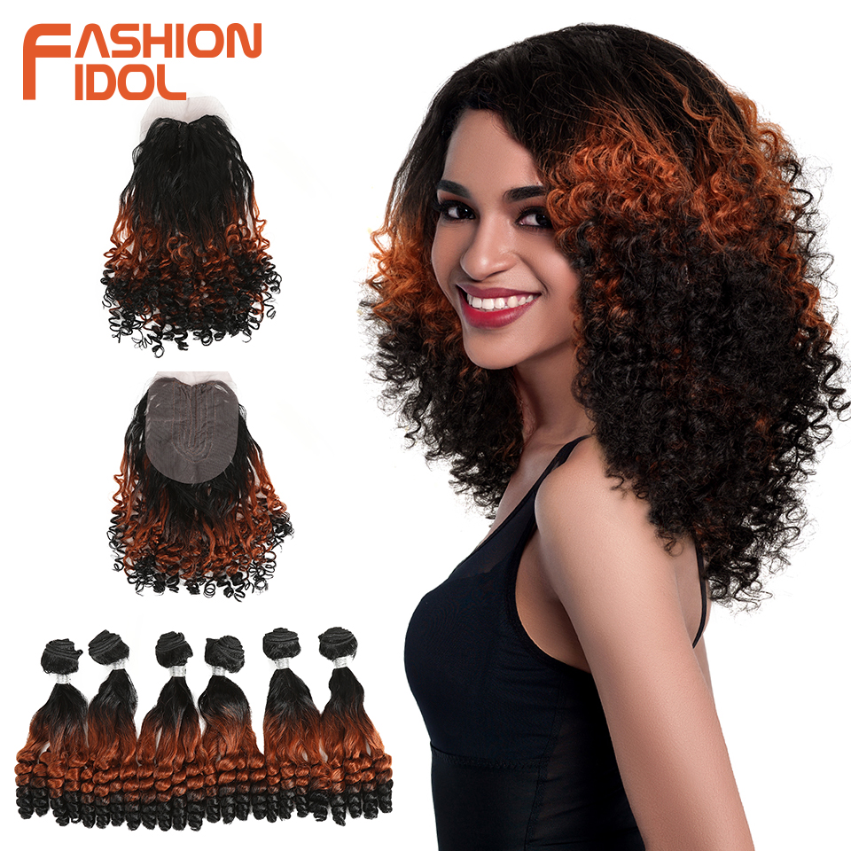 FASHION IDOL Afro Kinky Curly Hair Bundles 14inch 7Pieces/lot Upper Straight Lower Bend Synthetic Hair Lace Front With Closure(China)