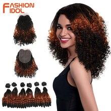 Moda ídolo afro kinky cabelo encaracolado pacotes 14 polegada 7 peças/lote superior em linha reta inferior curva do cabelo sintético frente do laço com fechamento