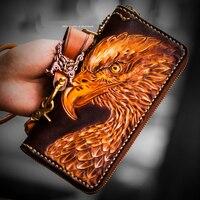 Ручной работы мужские кошельки Длинные кожаные резьба трехмерной flying eagle fortune из натуральной кожи сумки женские Кошельки и портмоне
