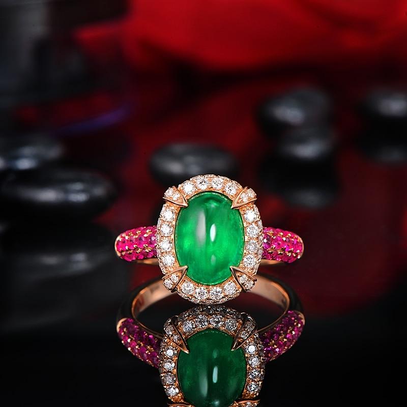 14K Rose Gold 2.15ct Natural Emerald 1.12ctw Diamonds & Pink Sapphires Engagement Ring
