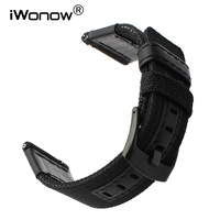 22mm 24mm Canvas Nylon Genuine Leather Watchband For Diesel Fossil Timex Armani CK Jeep Quick Release