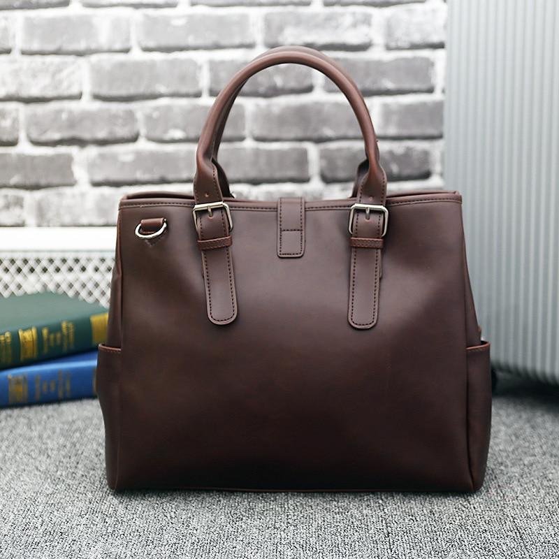 2018 New Retro Men 's Briefcase Handbag PU Leather Casual Fashion Messenger Men Bag Men' S Shoulder Bag