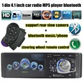 Free Shipping 4.1inch Support Bluetooth/rear Camera/FM/Aux/USB/TF MP5 Player 7 Background Color 1Din Steer Wheel Remote Control