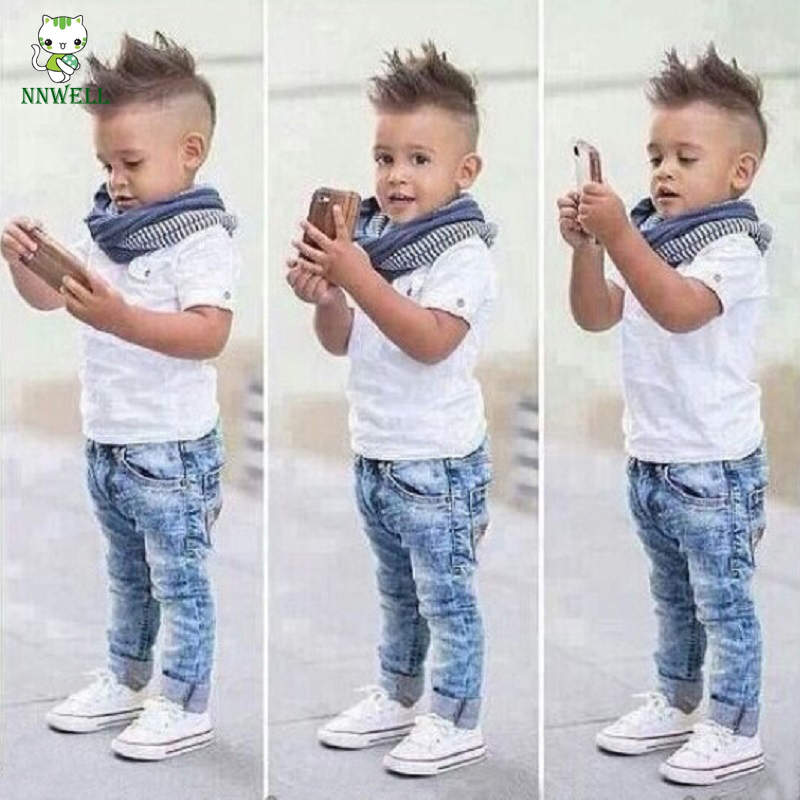NNW 3PCS Handsome Baby Boys Suit Short Sleeve T-Shirt+Denim Pants+Scarf Kids Clothes nnw autumn new baby boys clothes 3pcs