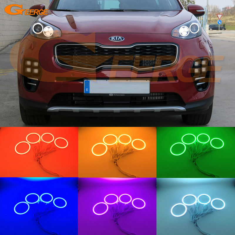 цена на For Kia Sportage KX5 2016 2017 Excellent angel eyes Ultra bright RGB Multi-Color LED Angel Eyes kit Halo Rings led light