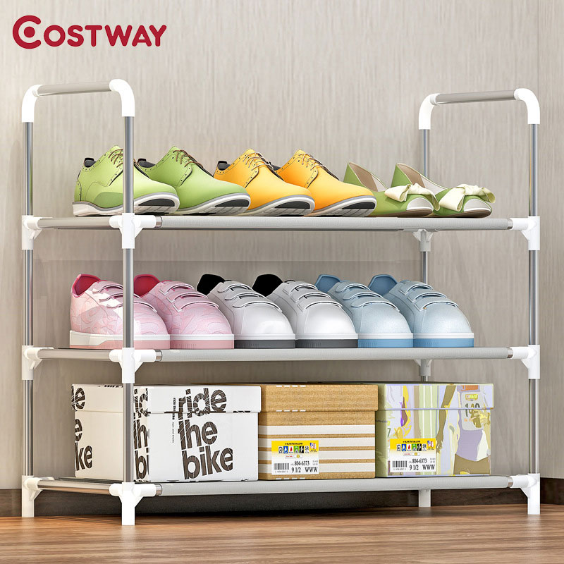COSTWAY 3-Tier Non-woven Shoes Rack Shoe Cabinets Stand Shelf Shoes Organizer Living Room Bedroom Storage Furniture W0255 12 grid diy assemble folding cloth non woven shoe cabinet furniture storage home shelf for living room doorway shoe rack