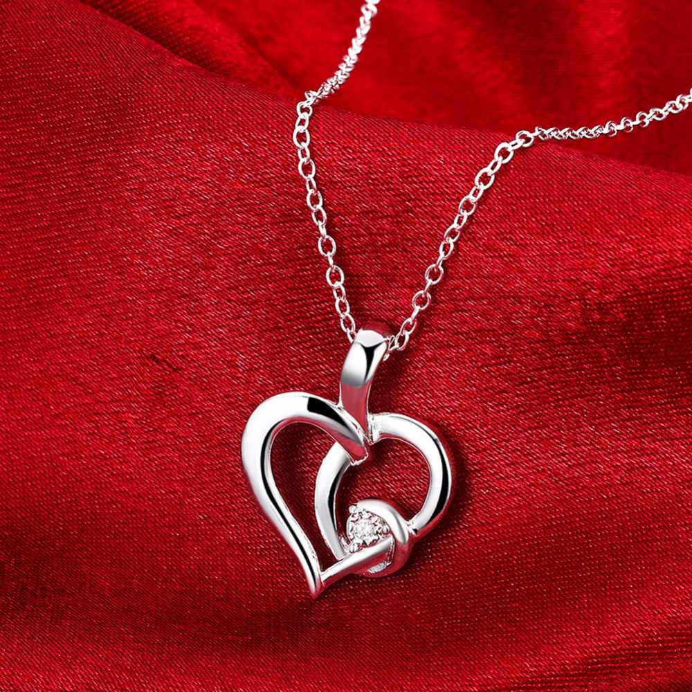 Collier de fête en forme de coeur avec chaîne ronde en zircon cubique accessoire bijoux colliers et pendentifs pour femmes (NE102227)