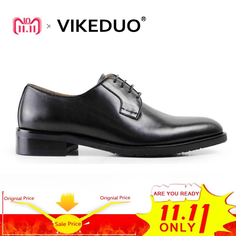 VIKEDUO Fashion Black Classic Handmade Male Cow Leather Shoe Mans Party Dance Wedding Dress Shoe Casual lace-up Men Derby Shoes цены
