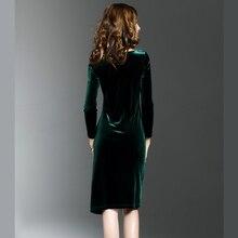 Women Green Velvet Dresses Plus Size Elegant Autumn Winter Slimming Fashion Casual Dress  Party Dress Vestidos Femininos