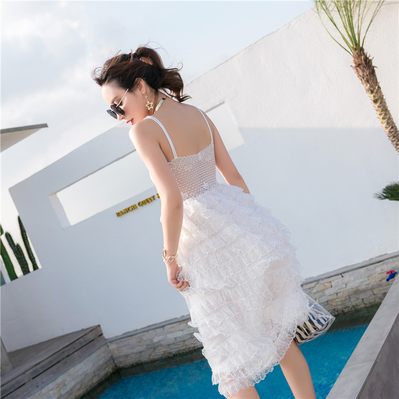Make a small video show thin summer new fashion sexy pure color joker condole backless sea beach dress