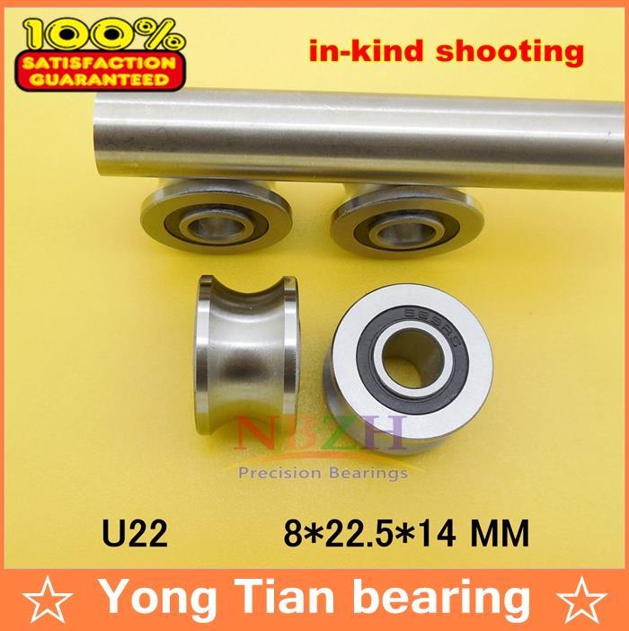 купить 10pcs/lot high quality U22 8mm V / U groove pulley bearings 8*22.5*14.5*13.5 mm Ugroove roller wheel ball bearing U-22 TU22 по цене 2815.23 рублей