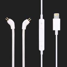 Câble Audio CIEM 0.78mm 2Pin avec micro pour oreilles de gorille/Audio Noble/aurisonique/futures soniques pour iPhone Xs/XR/X/8 Plus/8/7/7 Plu