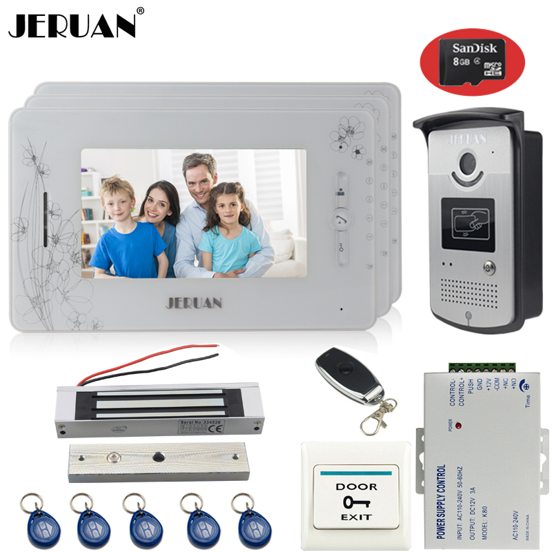 JERUAN three 7 inct monitor TFT color video door phone intercom system 700TVL new RFID Access IR Night Vision Camera+8GB Card jeruan three 7 monitor color video door phone intercom 700tvl rfid access ir night vision camera electric mortise lock 8gb card