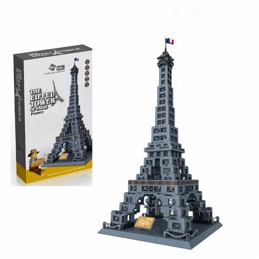 WANGE 8015 978 pièces Architecture La tour Eiffel blocs de construction brique Compatible technique LegoIN Playmobil jouets