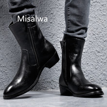 Misalwa Men Shoes Boots Leather Cool Rivet Combat Army Motorcycle Boots Autunm/Winter Male Zip Mid-Calf Military Botas Hombre zero more army boots men high military combat boots metal buckle punk mid calf male motorcycle boots zipper men s shoes parade