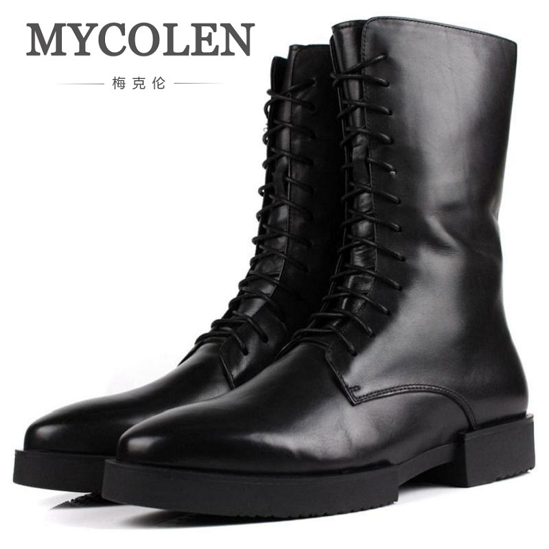 MYCOLEN Brand Designer Vintage Style Men Boots Natural Leather Winter High-Top Shoes Work&Safety Men Quality Ankle Boots mycolen designer men shoes high quality leather sneakers men ankle boots luxury brand winter men boots black botas de hombre