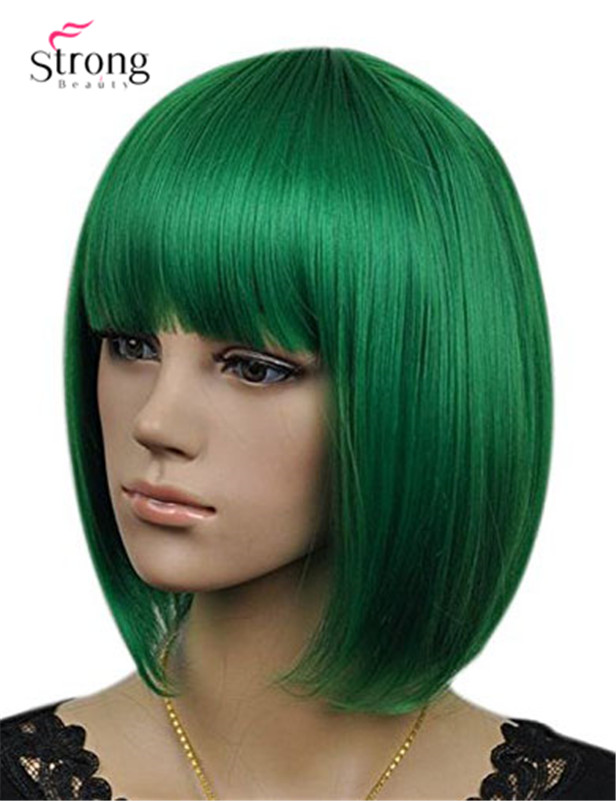 Women`s Cosplay Party Kanekalon Synthetic Fiber Short Straight Dark Green Bob Hair Full Wigs1